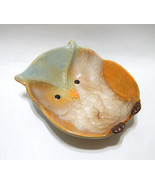 Owl Ceramic Serving Bowl Fall Kitchen Decor Blue Green Gold Tan - $17.95