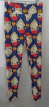 Women's LuLaRoe OS (One Size) Leggings Holiday Blue with Polar Bears in Red Hats - $58.90