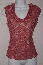 Xhilaration Red & Pnk Floral print Sleeveless Shirt Womens Size Large - EUC - $5.89