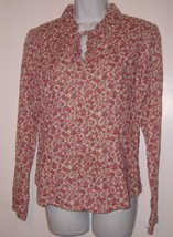 American Eagle Outfitters Shirt Beige Floral Print Shirt Womens Size 10 EUC - $5.89