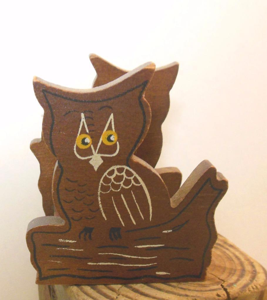 "Wooden Owl Mail Catcher Holder 3 x 3 x 3"" Vintage Hand Painted"