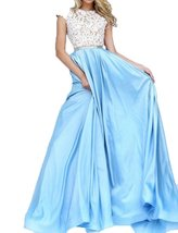Fanmu Cap Sleeve A Line Lace Satin Prom Dresses Evening Gowns Blue US 12 - $119.99
