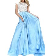 Fanmu Cap Sleeve A Line Lace Satin Prom Dresses Evening Gowns Blue US 14 - $119.99