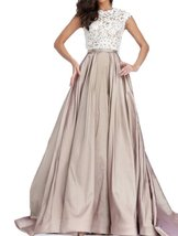 Fanmu Cap Sleeve A Line Lace Satin Prom Dresses Evening Gowns Champagne US 4 - $119.99