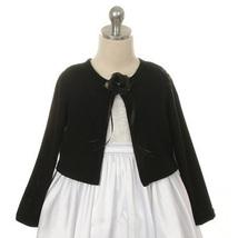 Black Cardigan Sweater Long Sleeve Flower Brooch Flower Girl Jacket - $14.00+