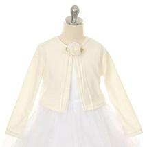 Ivory Cardigan Sweater Long Sleeve Flower Brooch Flower Girl Jacket - $14.00+