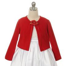 Red Cardigan Sweater Long Sleeve Flower Brooch Flower Girl Jacket - $14.00+