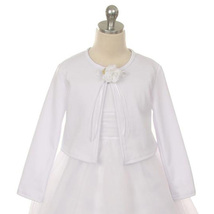 White Cardigan Sweater Long Sleeve Flower Brooch Flower Girl Jacket - $14.00+
