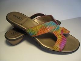 Vaneli Multicolor Slides Sandals 7M Low Wedge - $42.06