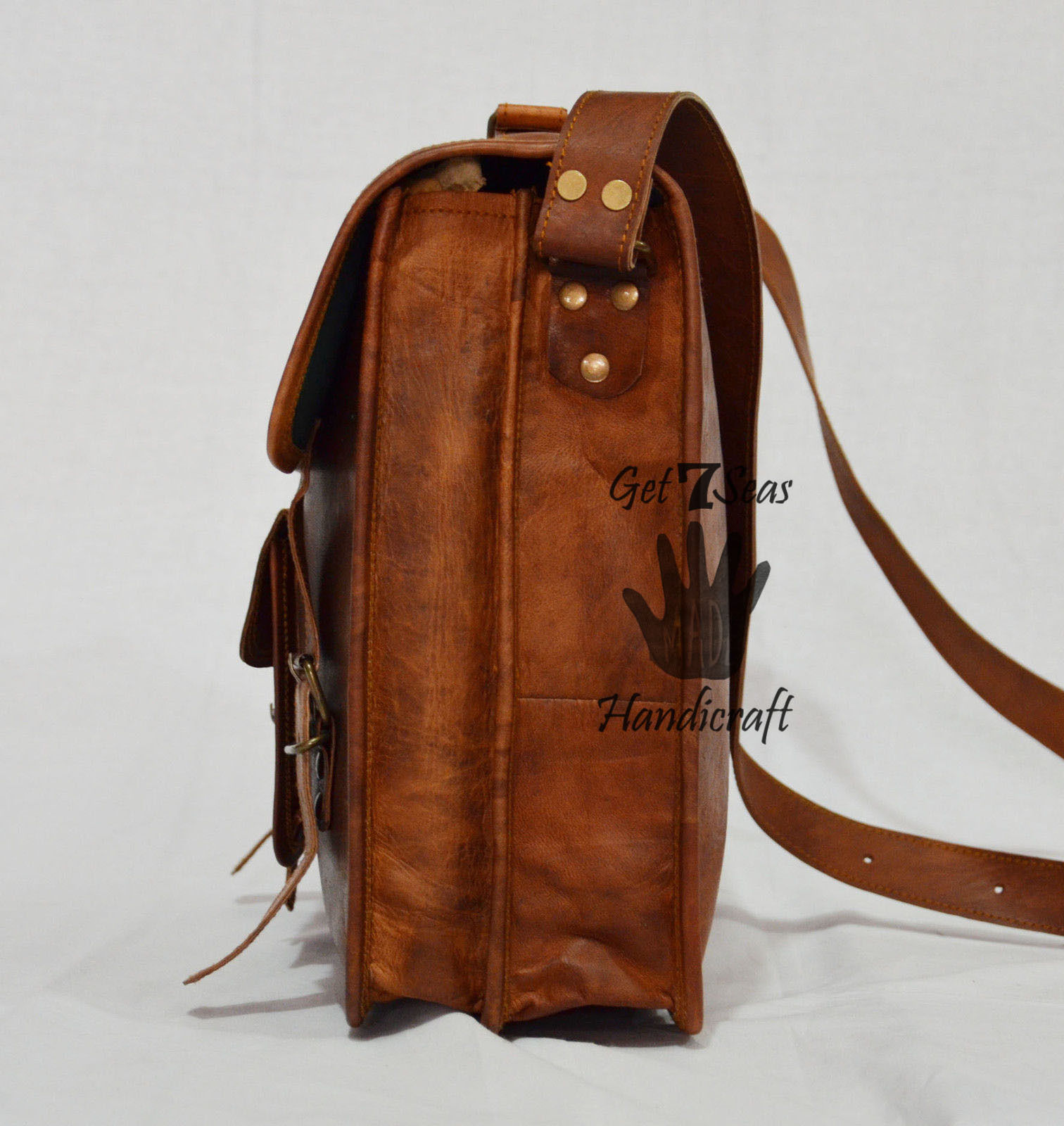 Leather computer bag men's shoulder laptop women briefcase vintage satchel Bags image 4