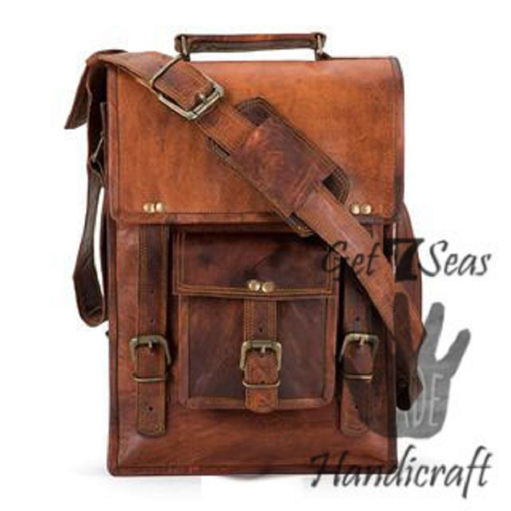 Men's leather vintage laptop backpack rucksack messenger bag satchel women bags image 3