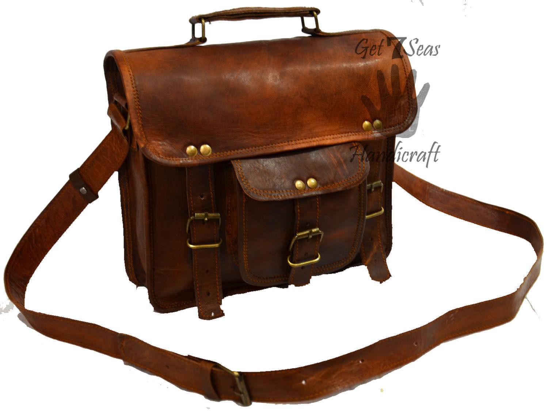Leather computer bag men's shoulder laptop women men messenger briefcase vintage image 2
