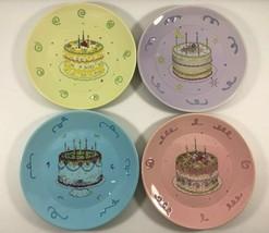 NEW AVON 2003 President's Club Set of 4 Pastel Birthday Cake Collection Plates - $32.66