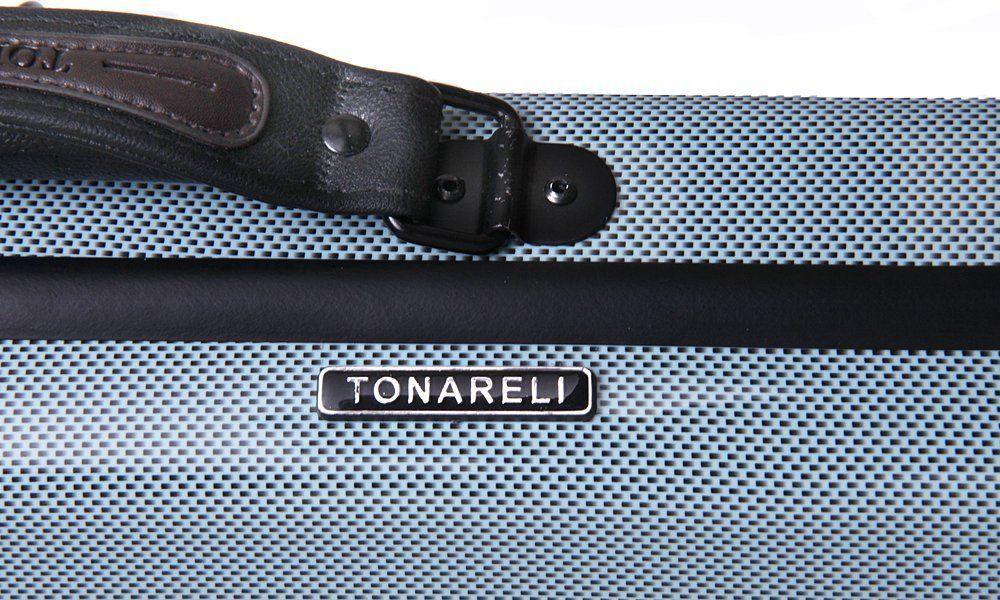 TONARELI Fiberglass Violin 4/4 OBLONG Hard Case BLUE Graphite w straps & Blanket