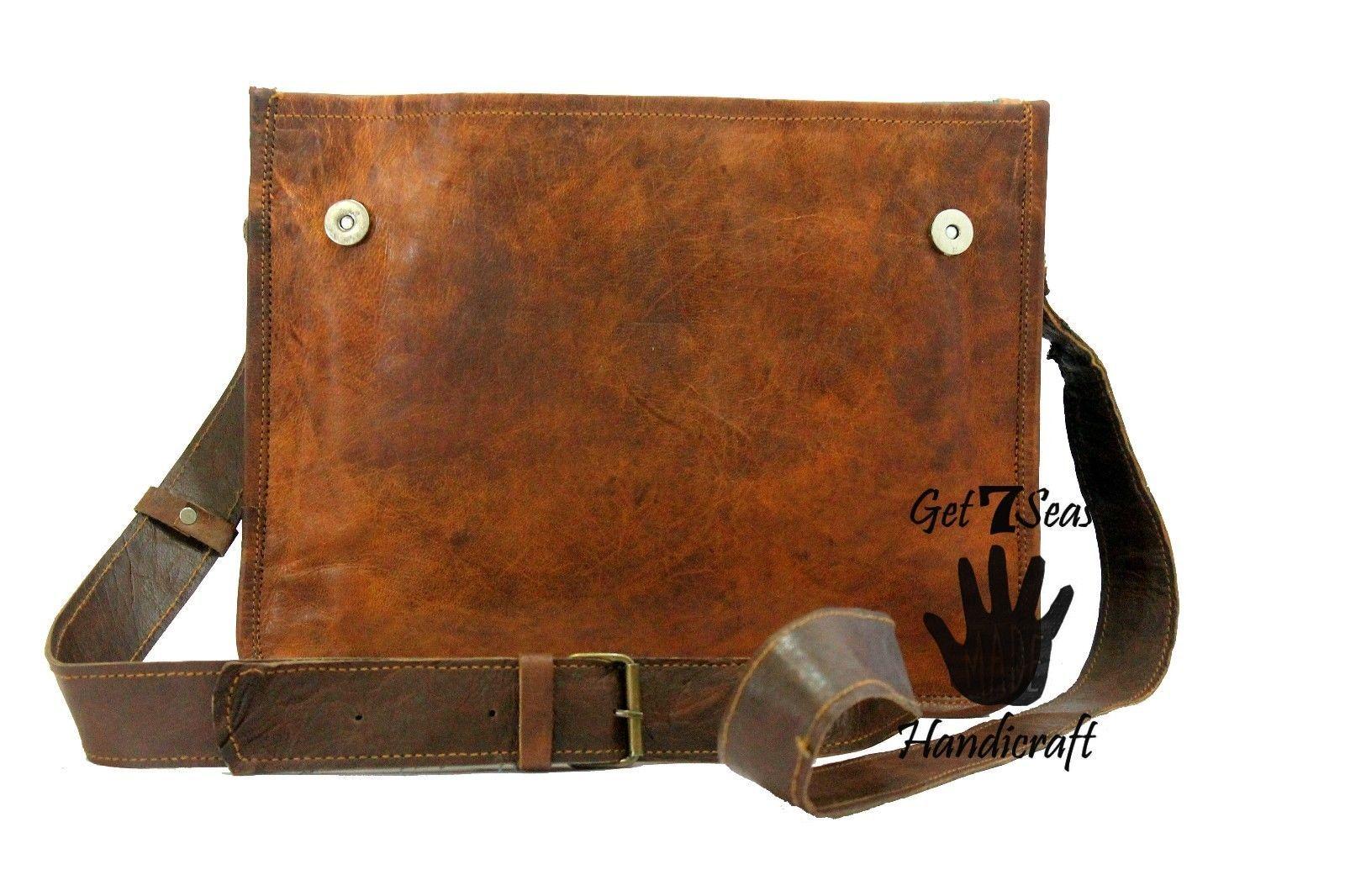 Leather satchel men's shoulder laptop women messenger cmputer men Genuine bags image 6