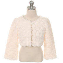 Ivory Cuddle Fur Bolero Jacket with A Pearl Button Winter Party Flower Girl - $30.00