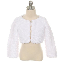White Cuddle Fur Bolero Jacket with A Pearl Button Winter Party Flower Girl - $30.00