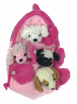 Plush Pink Dog House w/Dogs (4) Stuffed Animal Dogs in Pink Play House P... - $49.49