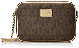 Fashion Michael Kors Jet Set Womens Large Crossbody Handbag Brown Monogram - $196.87