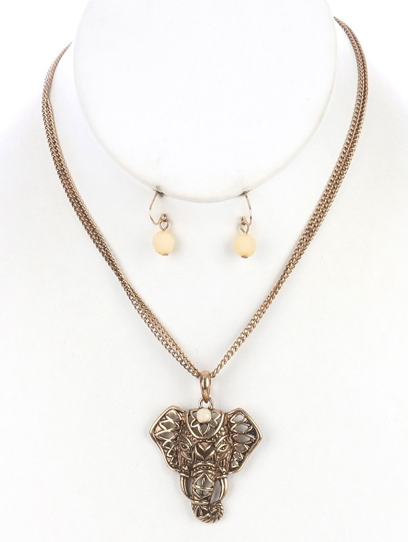 Elephant Pendant Necklace and Earrings Set GoldTone