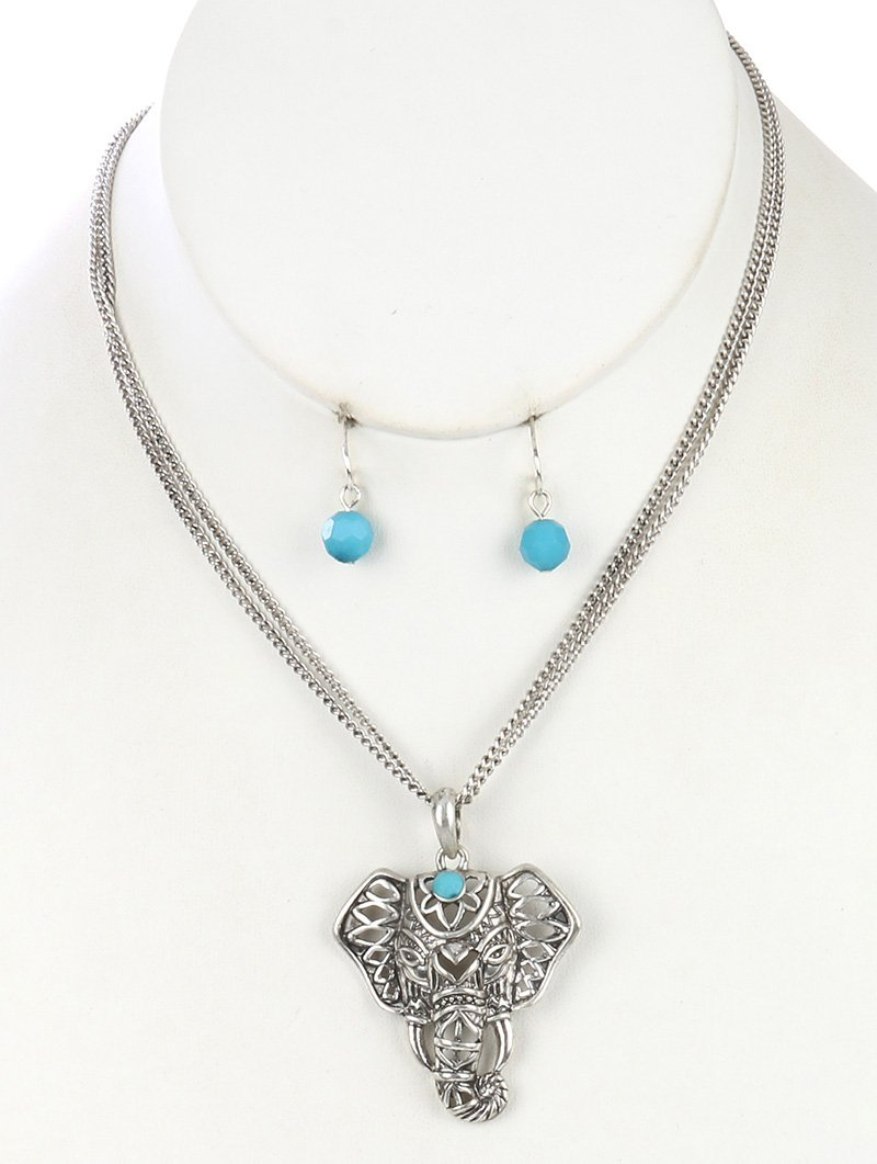 Elephant Pendant Necklace & Earrings Set SilverTone Turquoise Glass