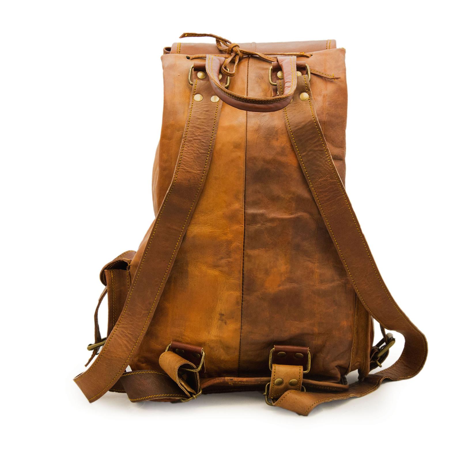 16″ Ladies Leather Backpack Knapsack For Travel & Laptop image 1