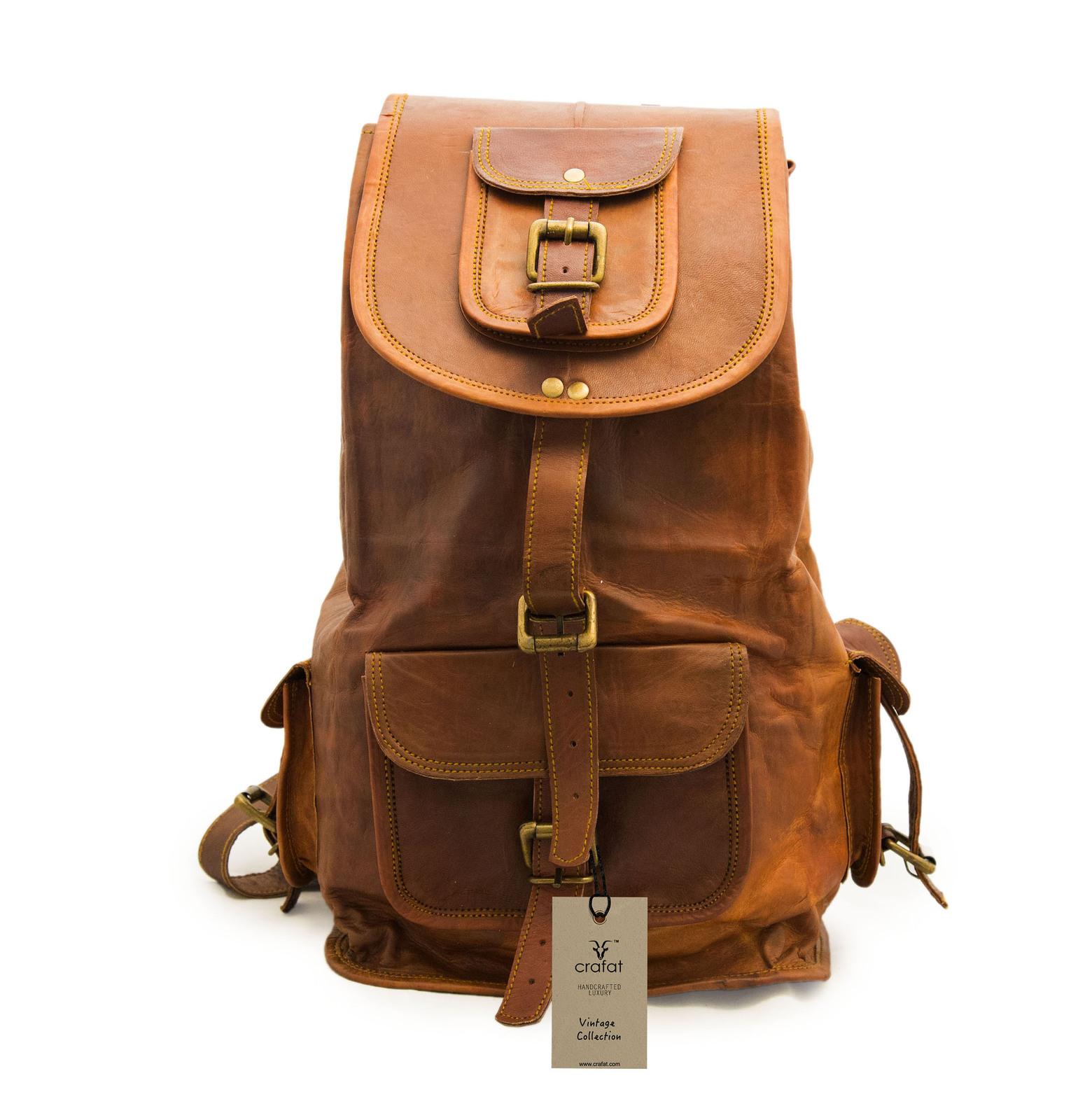 16″ Ladies Leather Backpack Knapsack For Travel & Laptop