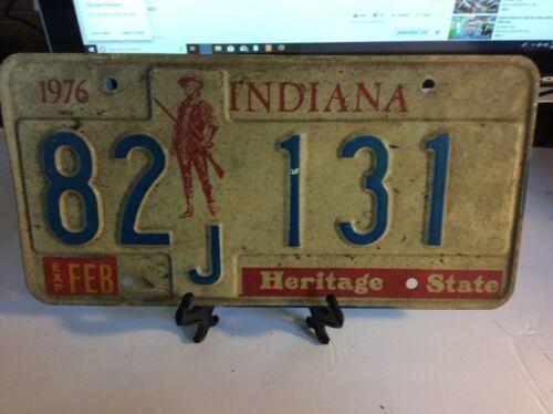 Vintage Indiana License Plate -  - Single Plate  1976