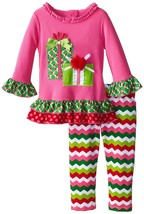 Little Girl 2T-6X Fuchsia Pink Gift Applique Dress Legging Set, Rare Editions