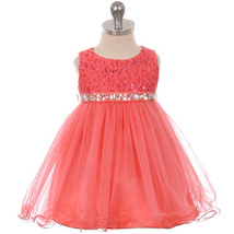 Coral Sequin Top Layers Tulle Skirt Rhinestones Sash Party Flower Baby Dress - $37.95