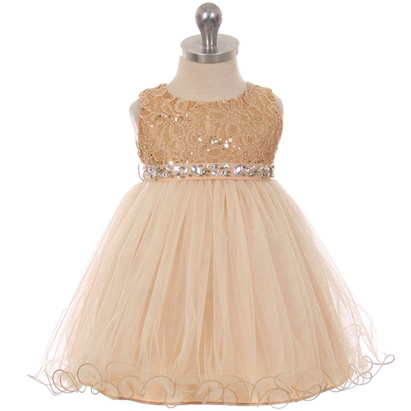 Coral Sequin Top Layers Tulle Skirt Rhinestones Sash Party Flower Baby Dress