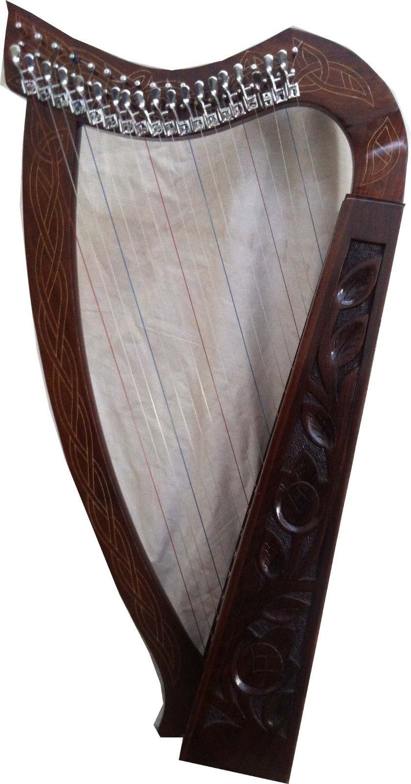 CP BRAND NEW 19 STRINGS HARP WITH LEVERS ROSEWOOD HAND CARVED FREE BAG & SHIP