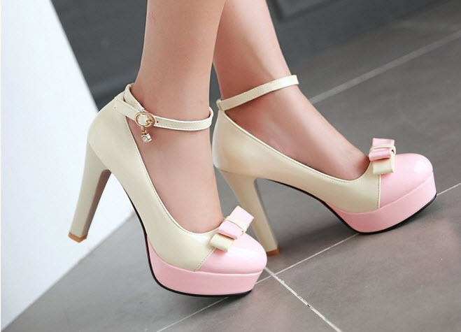 Primary image for pp202 Elegant extra size spell color pumps, US size 2-10.5, whie/pink