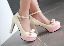 pp202 Elegant extra size spell color pumps, US size 2-10.5, whie/pink - $52.80