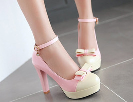 pp202 Elegant extra size spell color pumps, US size 2-10.5, pink/white - $52.80