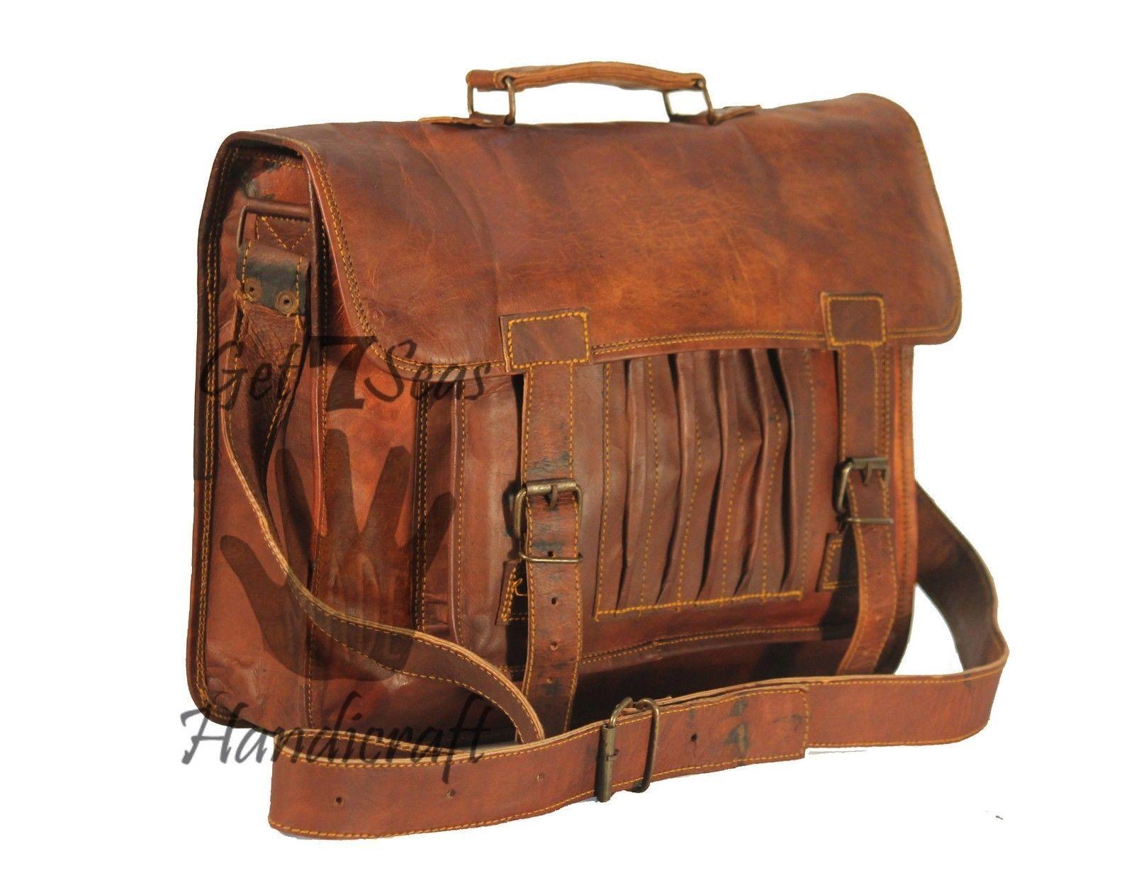 Leather computer bag men's shoulder laptop women briefcase vintage messenger image 2