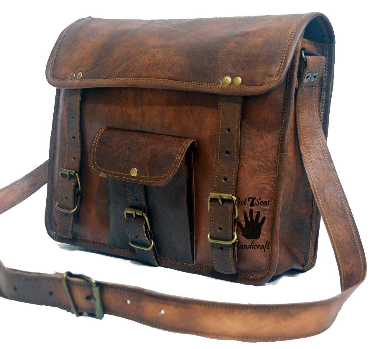 Leather computer bag men's shoulder laptop women messenger satchel men vintage