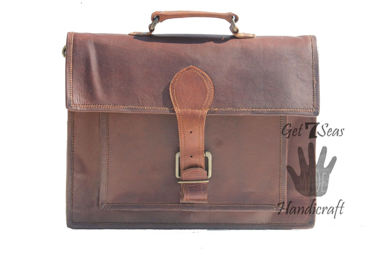 Messenger bag leather men's laptop women shoulder satchel briefcase vintage bag image 2
