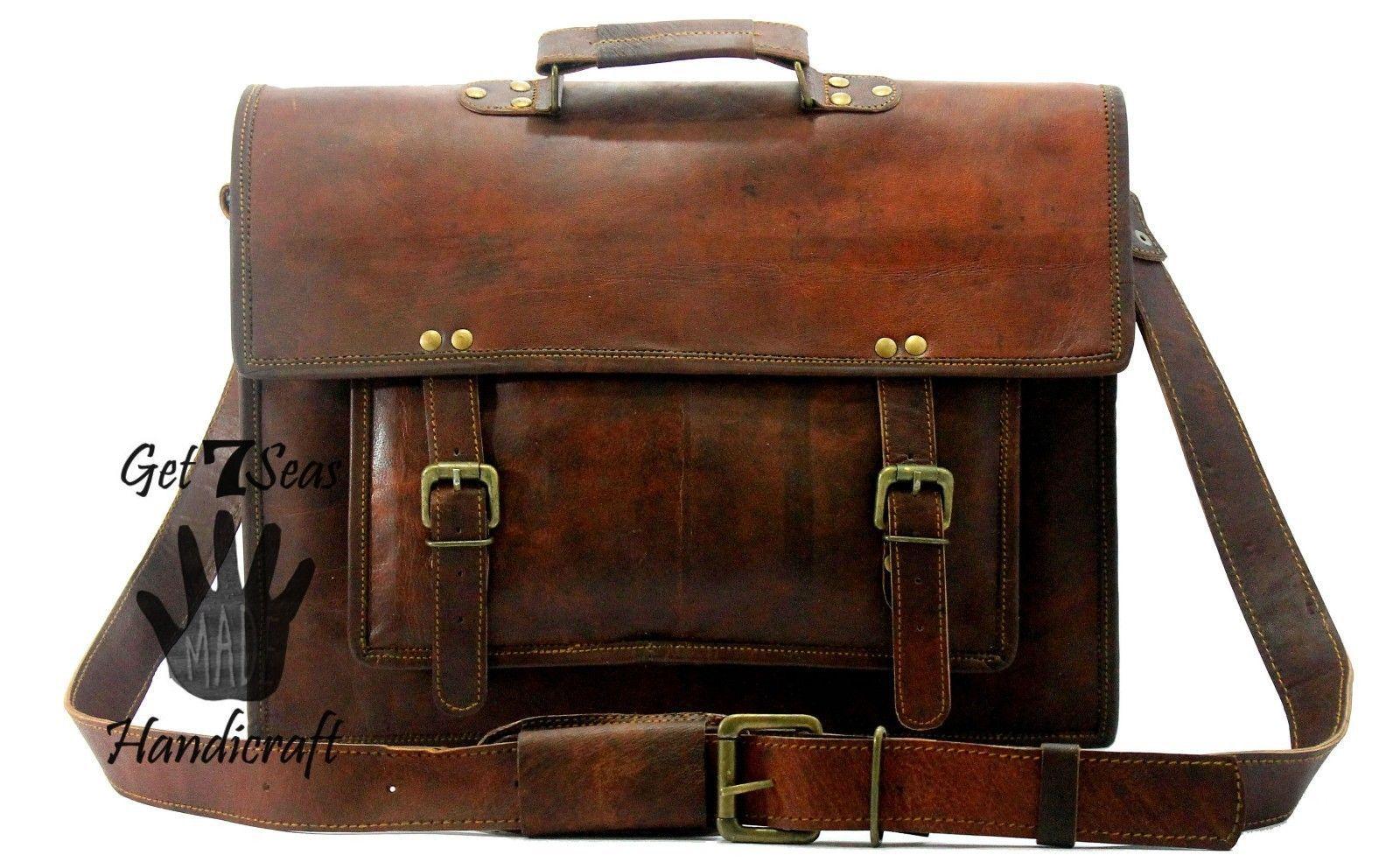 Leather messenger bag men's shoulder women satchel briefcase  laptop men vintage image 2