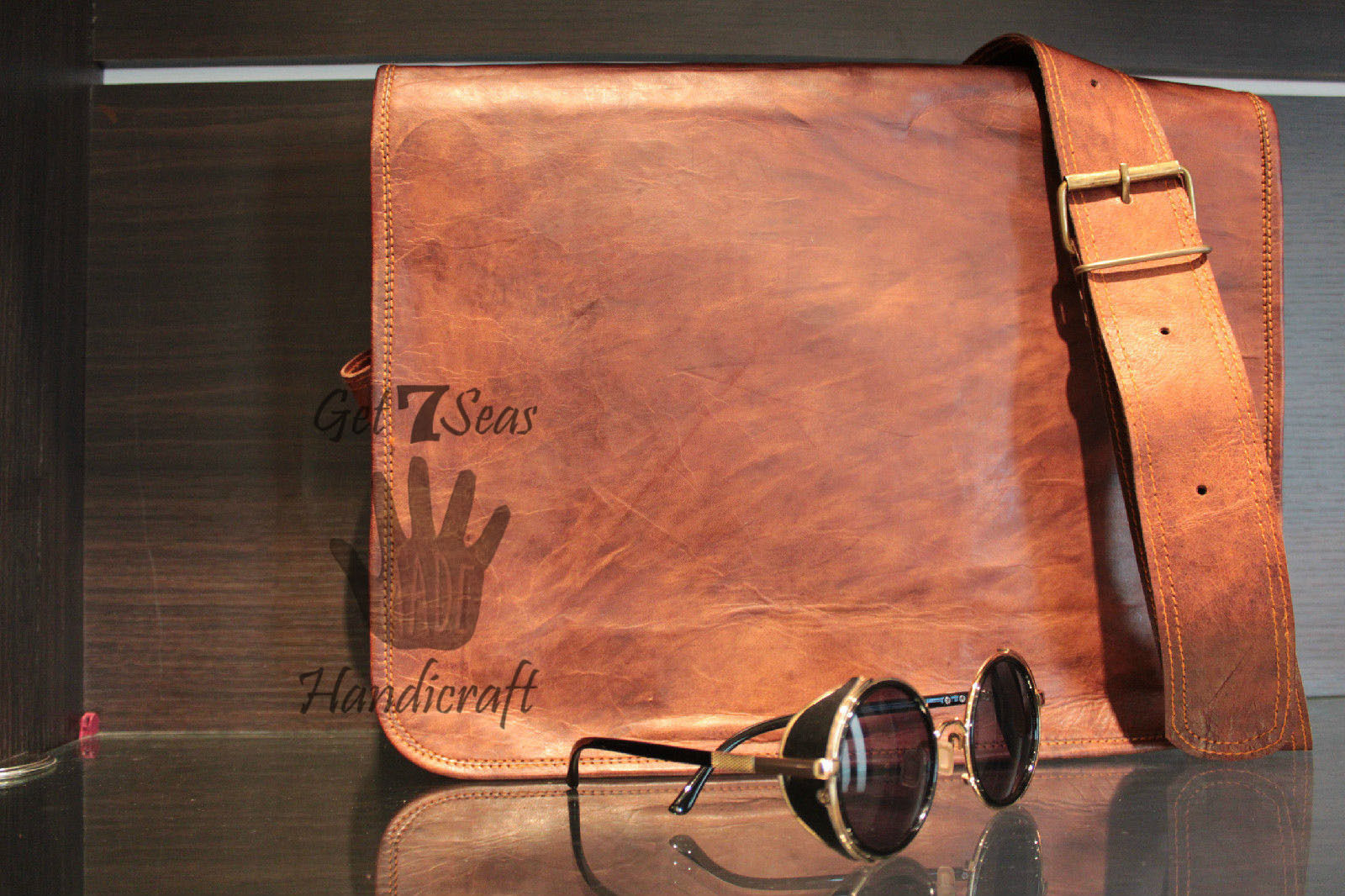 Leather satchel men's shoulder laptop women messenger men briefcase  brown bags image 6