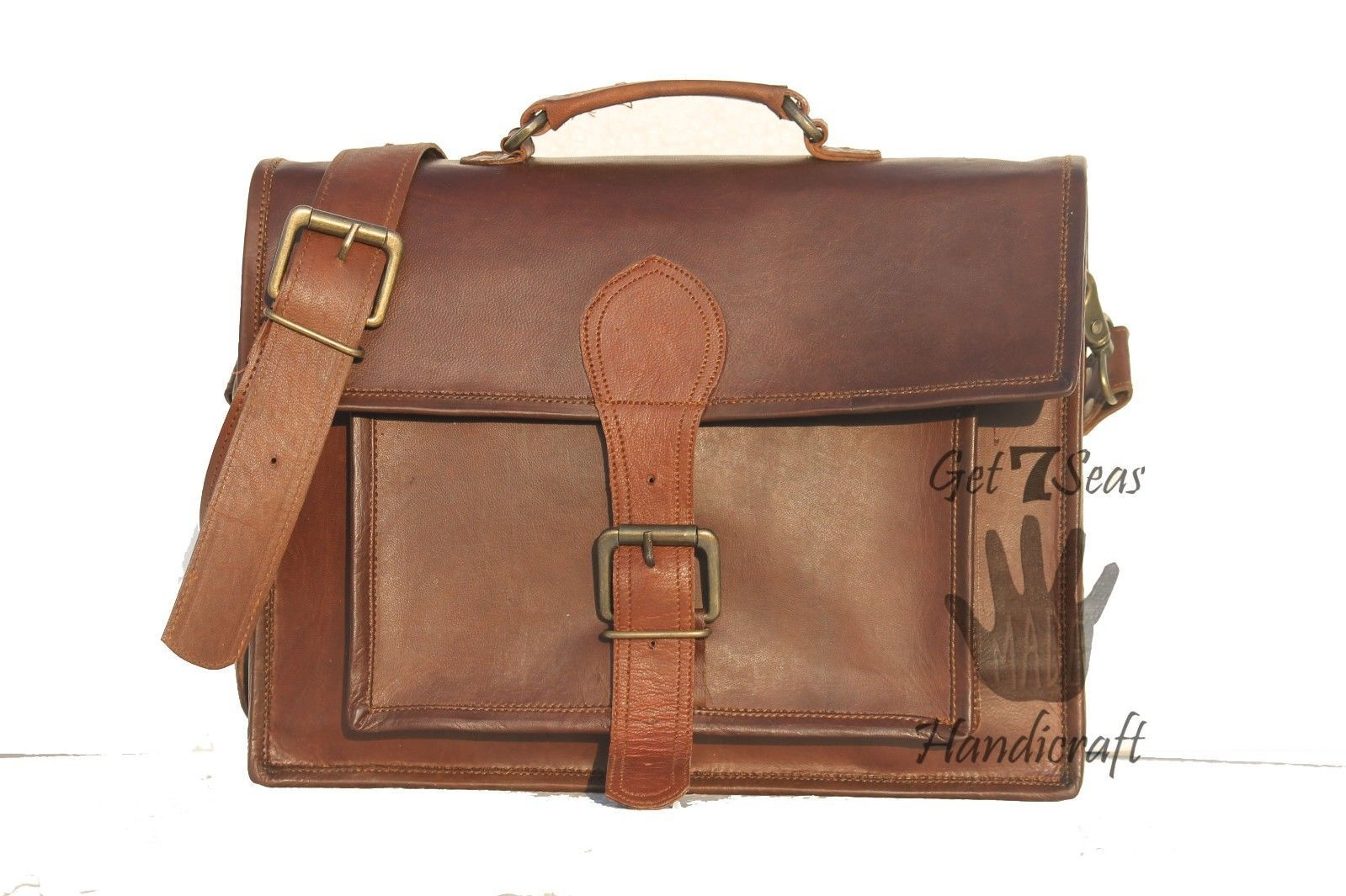 Messenger bag leather men's laptop women shoulder satchel briefcase vintage bag image 4