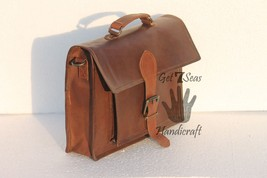 Messenger bag leather men's laptop women shoulder satchel briefcase vintage bag image 5