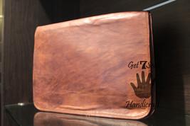 Leather satchel men's shoulder laptop women messenger men briefcase  brown bags image 2