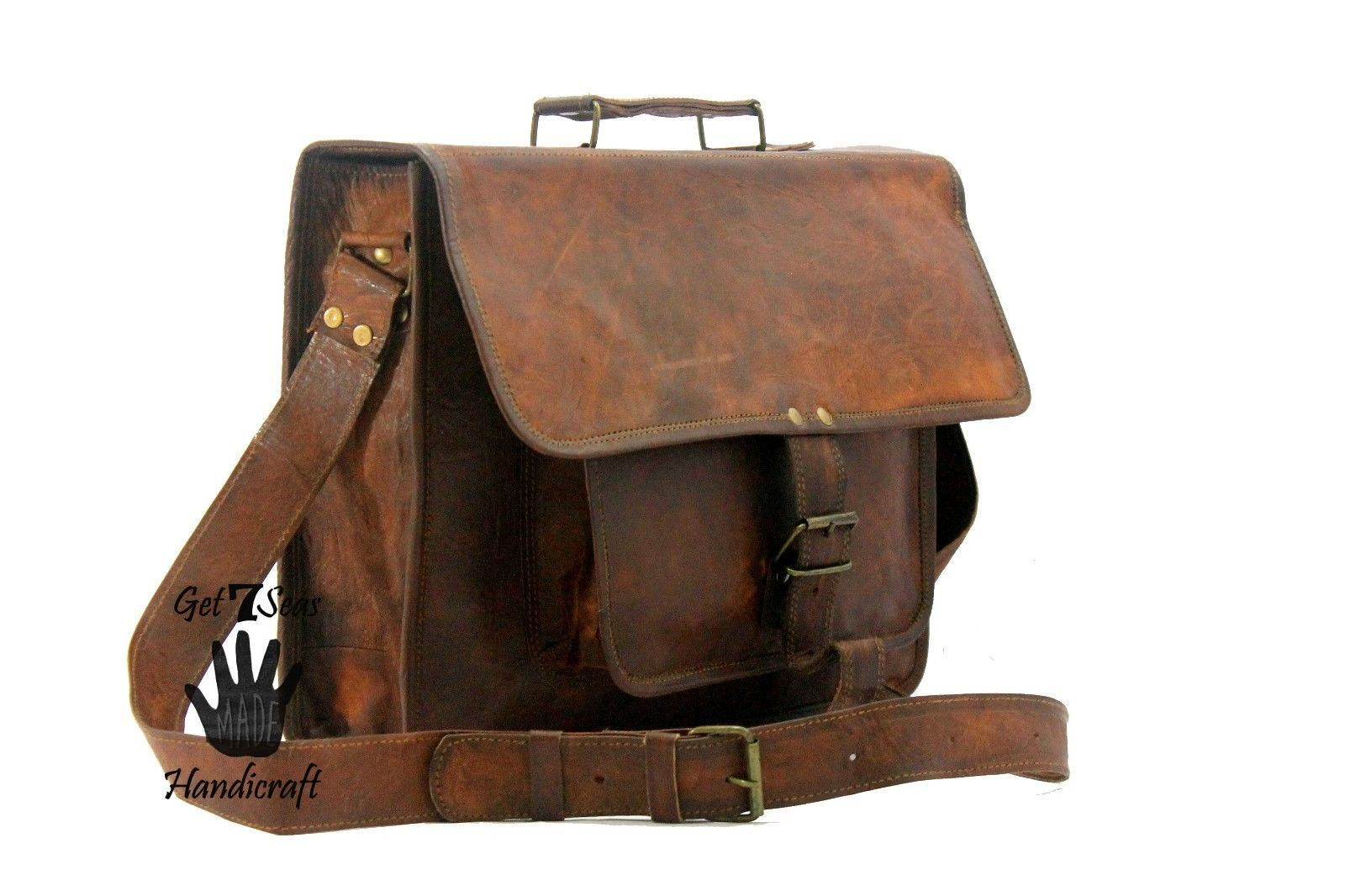 Leather messenger bag men's shoulder satchel women briefcase men laptop vintage