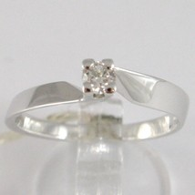 White Gold Ring 750 18K, Solitaire, Square cross, Diamond, CT 0.15 image 1