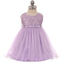 Lilac Sequin Top Layers Tulle Skirt Rhinestones Sash Party Flower Baby D... - $37.95
