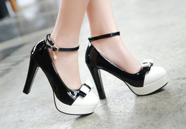 pp202 Elegant extra size spell color pumps, US size 2-10.5, black/white - $52.80