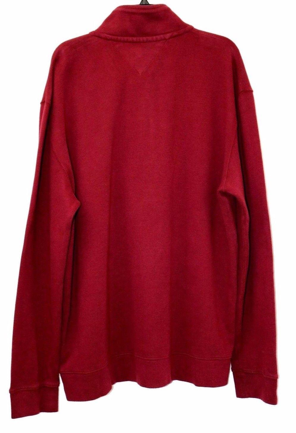 Tommy Hilfiger Quarter Zip Mock Collar Sweater Dark Green Zinfandel Size S XXL
