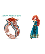 Merida Disny Princess Trio Ring In Round multi-Color Rose Gold Plated 92... - $113.99