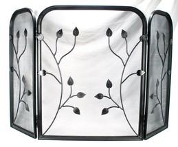 Vintage Metal Art Leaf 3 Panel Folding Fire Place Fireplace Mesh Screen Door - $186.99